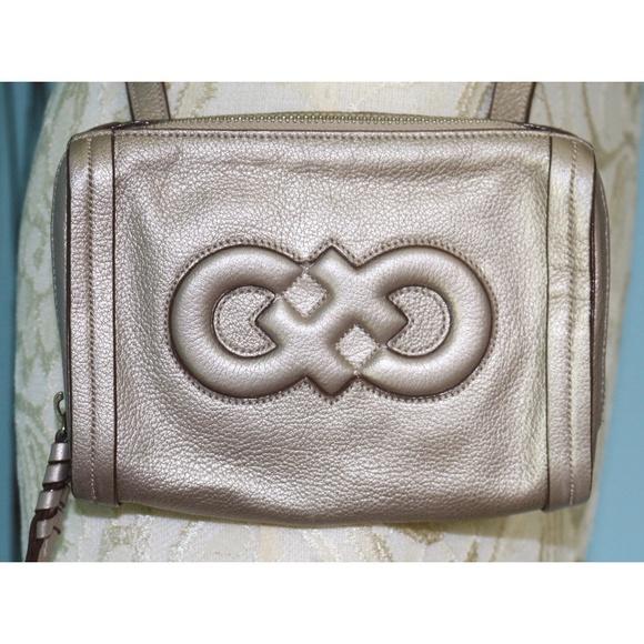 Cole Haan Handbags - Cole Haan Metallic Silver Leather Crossbody Bag